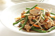 Chinese food, green bean and chicken stir fried