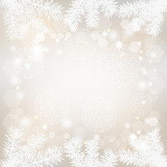 Christmas background with lacy snowflakes and fir branches