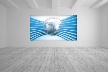 White room with abstract picture of globe