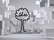 Idea tree on grey background with cubes