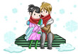 Cute couple sharing their warmth in white snowy background
