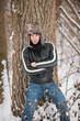 canvas print picture - Wintershooting Beauty man mit Mütze
