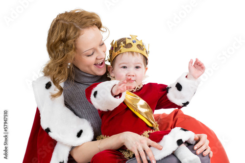 Mother and her son in suit of Christmas king isolated on white