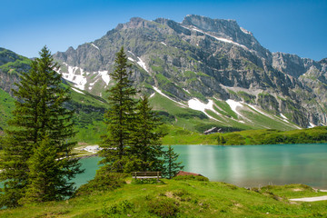 Truebsee lake in Swiss Alps, Engelberg, Central Switzerland