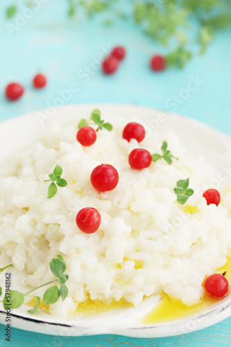 Milk rice porridge with cranberries