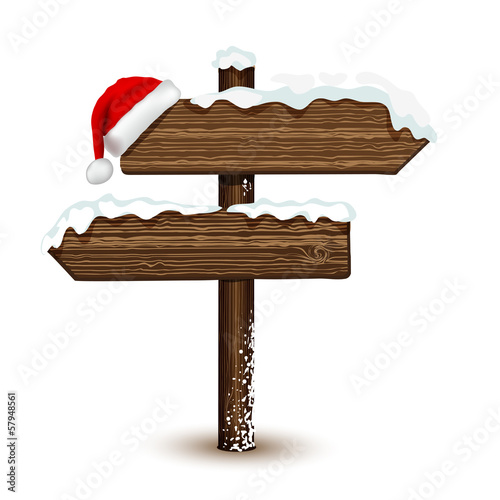 Winter wooden arrow in vector