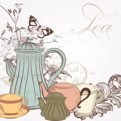 Hand drawn vector background with tea in vintage style