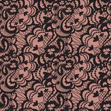 Lace nahtlose Muster mit Blumen auf beigem Hintergrund