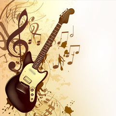 Music background in vintage style with bass guitar and notes