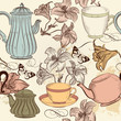 Seamless wallpaper background with hand drawn cups, teapots and