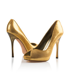 Golden Pair of women shoes