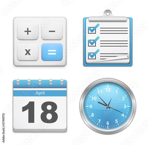 Office Icons - Calculator, Clipboard, Calendar and Clock