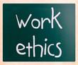"""Work Ethics"" handwritten with white chalk on a blackboard"