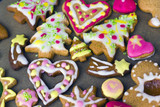 Colorful decorated christmas cookies, close up