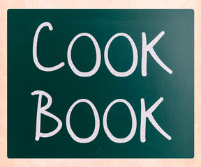 """Cook book"" handwritten with white chalk on a blackboard"