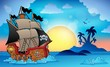 Pirate ship near small island 3 - 57952387