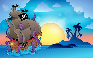 Pirate ship near small island 2