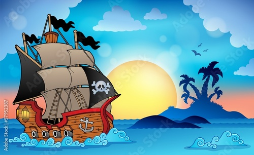 Pirate ship near small island 3