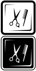 icon with scissors and comb. hair salon vector symbols