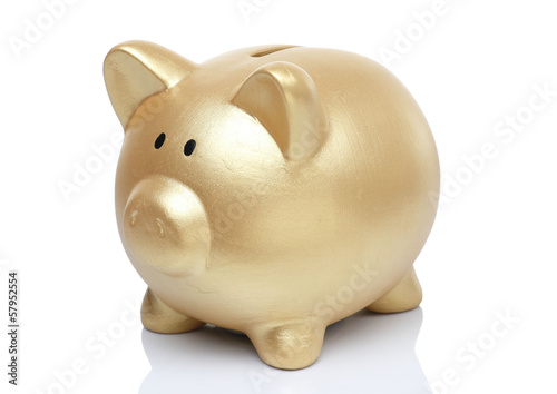 Gold Piggy Bank on White background