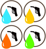 set icons with gun of gas station with oil and fueling drop