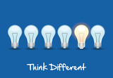 Row of light bulb concept. Think Different poster