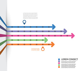 Colorful Flat Arrow Timeline Template - EPS10 Vector Illustratio