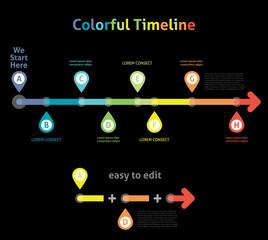 Colorful Flat Arrow Timeline Template - EPS10 Vector Illustratio