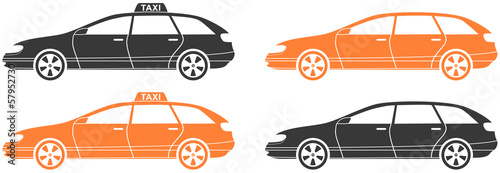 set isolated modern car and taxi cab silhouette
