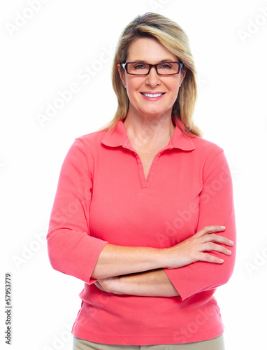 Senior woman with eyeglasses.