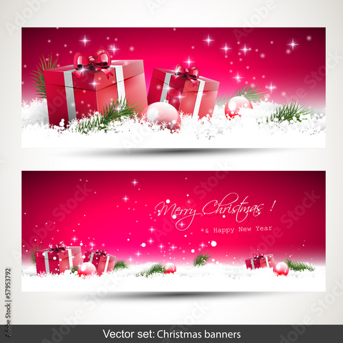Set of two red Christmas banners