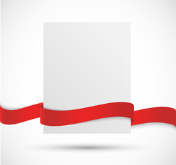 Paper banner with red ribbon