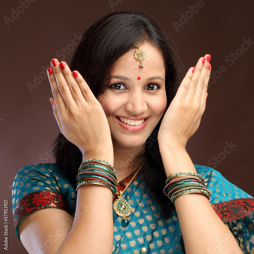 Happy young Indian traditional woman