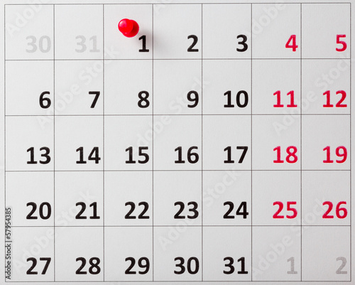 Pushpin in calendar