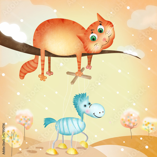 Cute illustration with cat holding horse as marionette