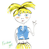 Modern abstract illustration of fashionable blond girl.
