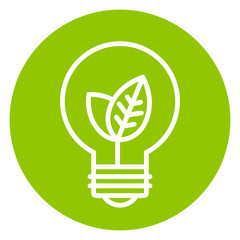 Ecology light bulb icon in green circle