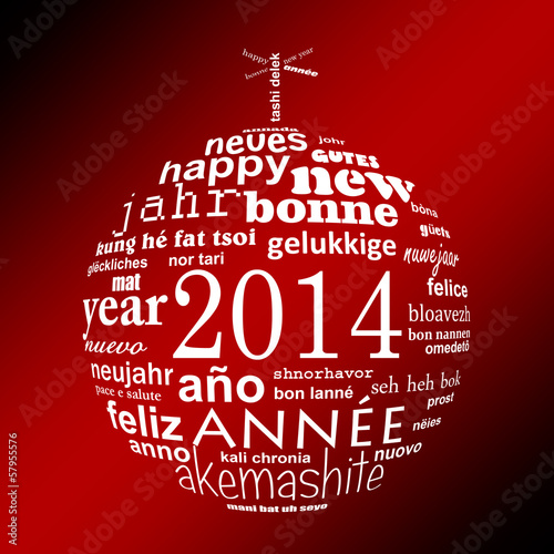 2014, boule multilingue blanc fond rouge