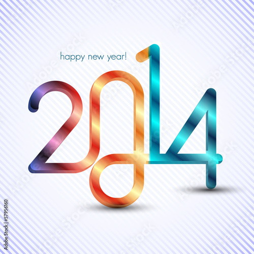 happy new year 2014, 3d typographic illustration