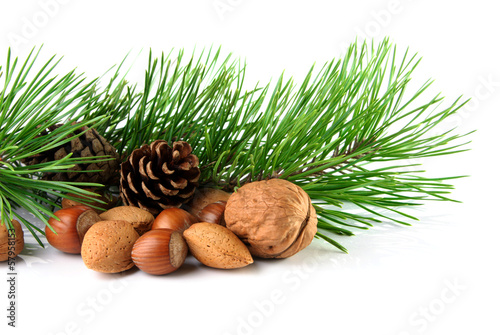 Christmas decoration with mixed nuts, pine twig and pine cones