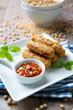 Gebratene, vegane Röllchen aus Soja und Gemüse
