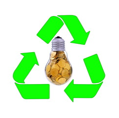 Recycling and renewable energy sources, glass bulb motif