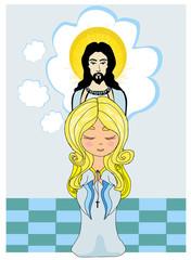 Cute little girl Praying to Jesus
