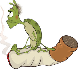 Green bug and cigarette cartoon