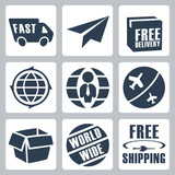 Vector isolated shipping icons set