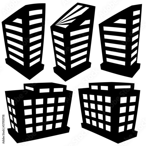Vector buildings silhouettes on white background