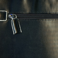 Zipper on a leather bag