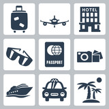 Vector isolated travel icons set