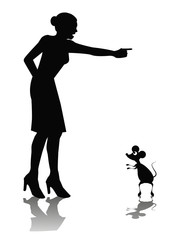 vignetta di silhouette di donna che grida ad un topo