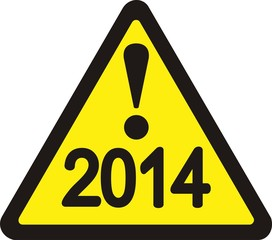 Yellow cautionary road sign 2014
